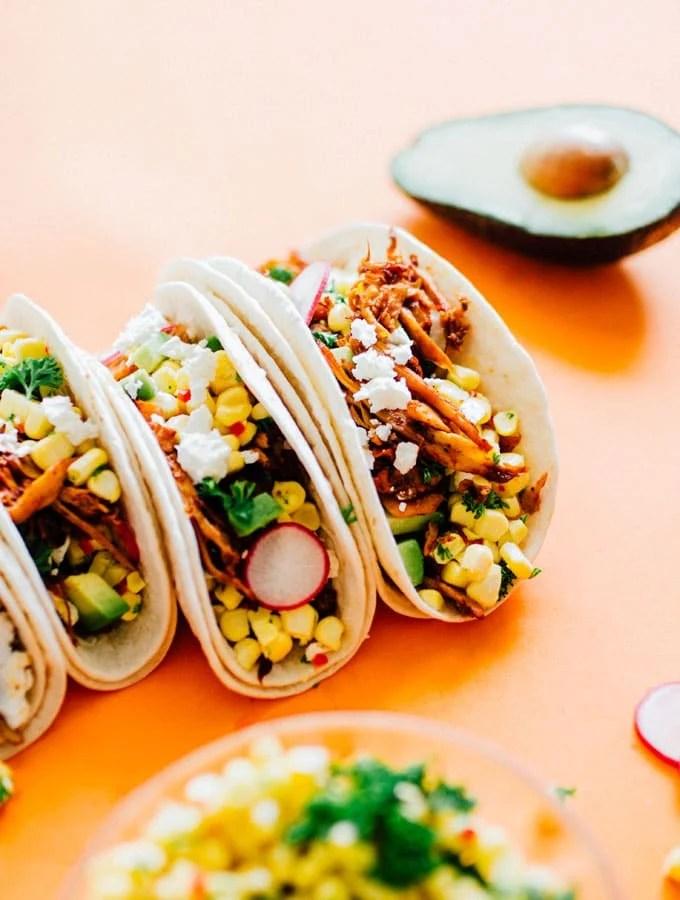 Corn and Pulled Mushroom Vegetarian Tacos