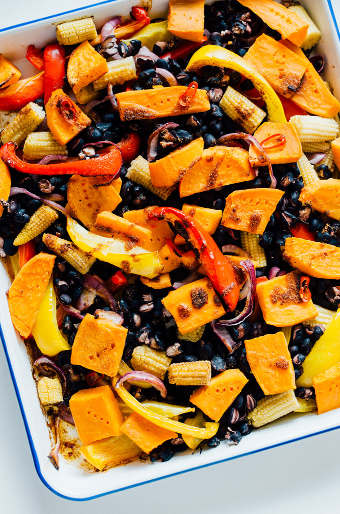 This vegetarian Mexican Sheet Pan Supper is a delicious mix of vegetables perfect for eating alone or with warm tortillas (and it's ready in under half an hour!)