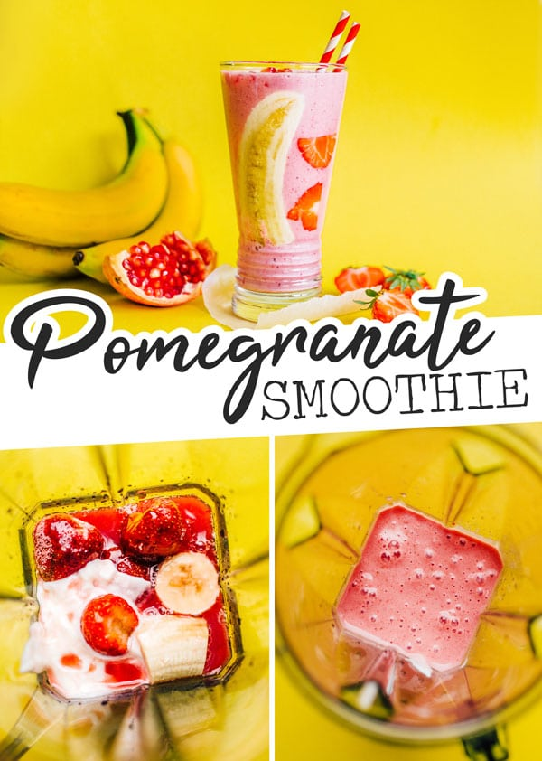 A easy and healthy Strawberry Pomegranate Smoothie recipe, made ultra-creamy with Greek yogurt and bananas and made frosty with frozen fruit.This healthy breakfast idea is full of flavor and a great on-the-go snack or meal for anyone in the family. #smoothierecipes #breakfastrecipes #smoothie #strawberryrecipes #pomegranaterecipes