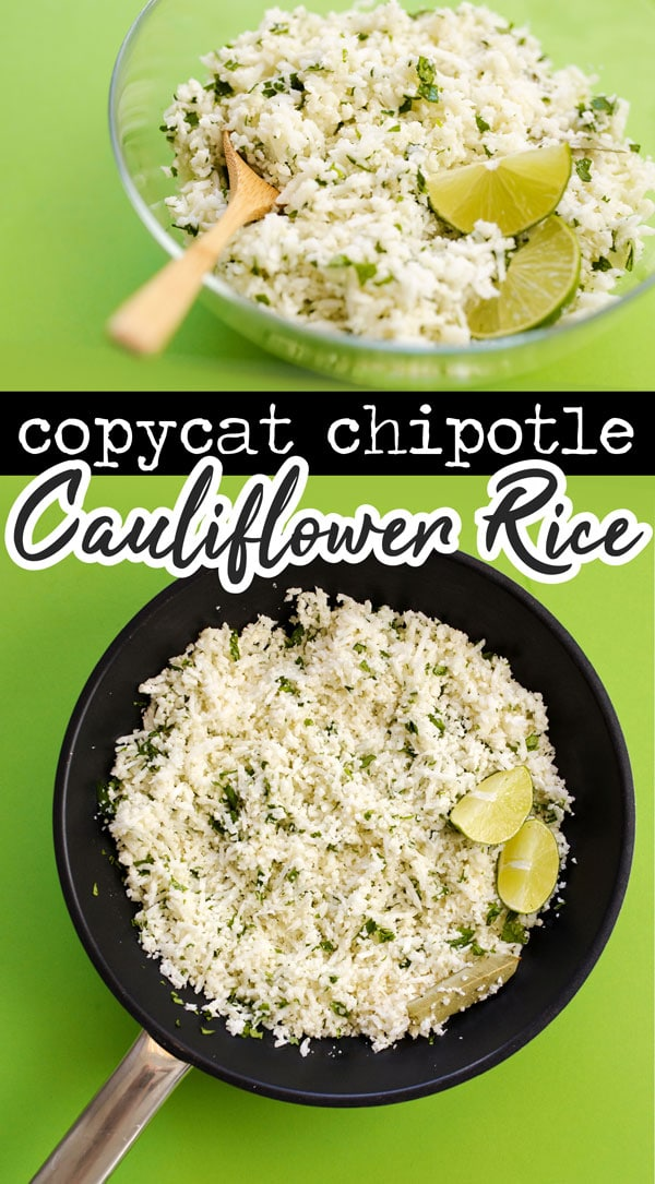 This Chipotle Copycat Cauliflower Rice recipe packs all the signature lime and cilantro flavors of your favorite Chipotle rice recipe (but in low carb cauliflower rice form!) It's a ketogenic rice recipe that's healthy and full of flavor (perfect for healthy taco Tuesday!) #lowcarbrecipes #ketorecipes #cauliflower #keto #ketogenic #lowcarb #paleo #paleorecipes #veganrecipes #vegan #vegetarian #glutenfree