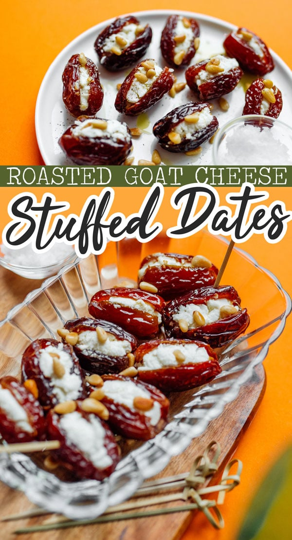 For a quick and delicious appetizer recipe, these warm and cheesy Roasted Goat Cheese Stuffed Dates are about to become your new flavor packed favorite. An easy vegetarian appetizer idea, perfect for Christmas, Thanksgiving, or any holiday potluck. #vegetarianrecipes #appetizers #appetizerrecipes #christmas #thanksgiving #fingerfood #stuffeddates #healthyrecipes #glutenfreerecipes