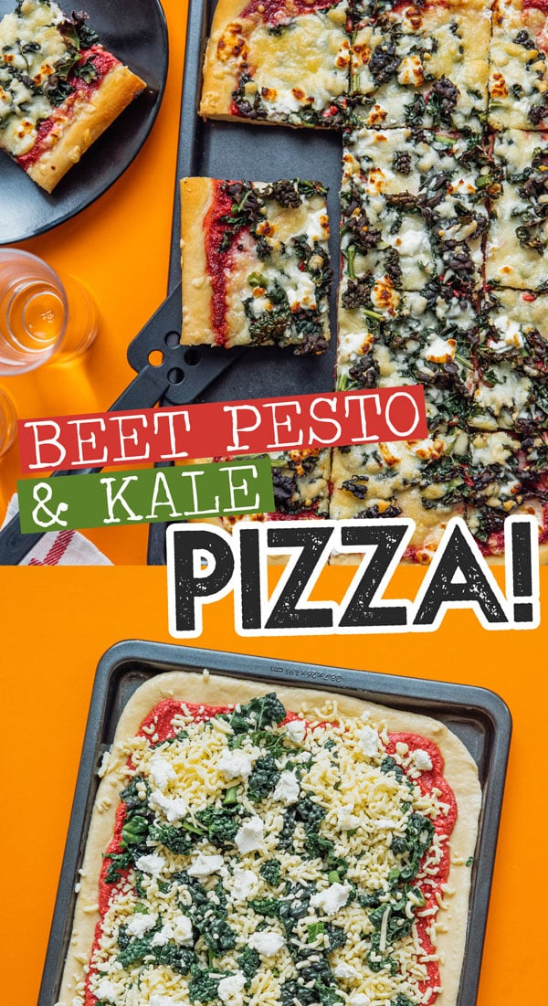 Step up your pizza game with this Beet Pesto Pizza with Goat Cheese and Kale recipe, a decadent yet healthy pizza recipe that's packed with nutritious flavor. A healthy dinner idea for pizza night! #pizza #pizzarecipes #dinner #healthyrecipes #healthydinner