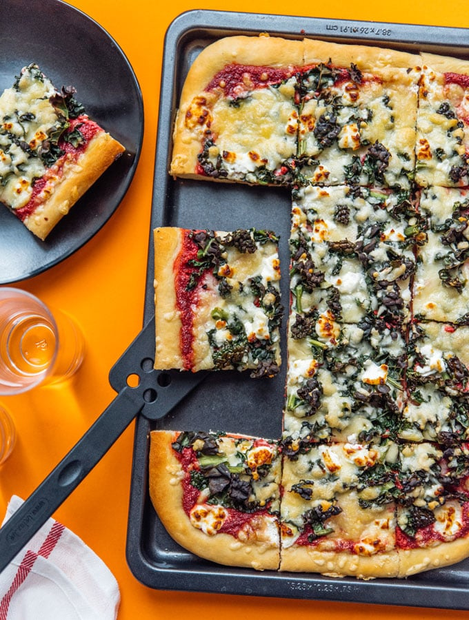 Beet Pesto Pizza with Goat Cheese and Kale