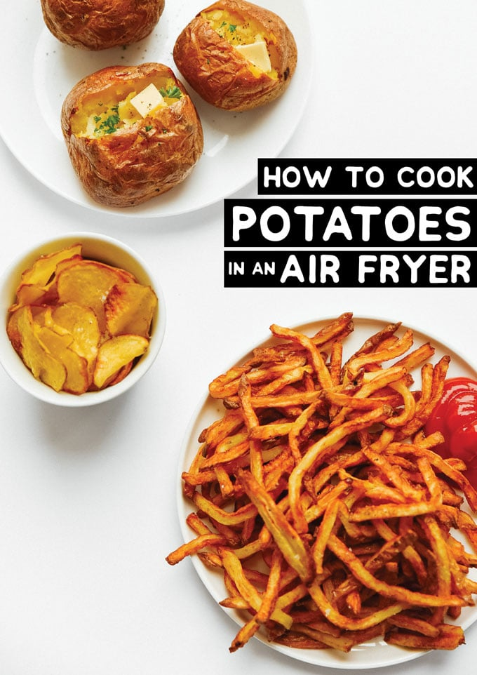 Air fryer potatoes on a white background - The ultimate guide on how to cook air fryer potatoes! How to make roasted potatoes, homemade French fries, and potato chips in your air fryer, using both white potatoes and sweet potatoes.