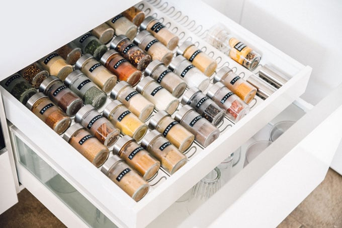 how to organize your spice drawer step