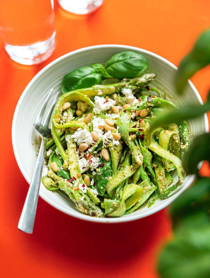10. Asparagus Noodles with Pesto
