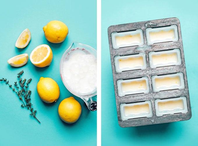 Ingredients to make lemon buttermilk popsicles