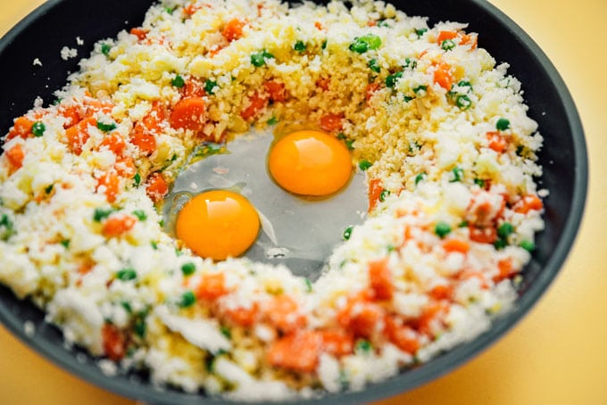 How to make low carb cauliflower fried rice recipe in a saute pan with fried eggs