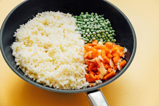 How to make low carb cauliflower fried rice recipe in a saute pan