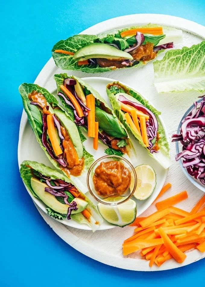 Fresh veggie lettuce wraps on a plate