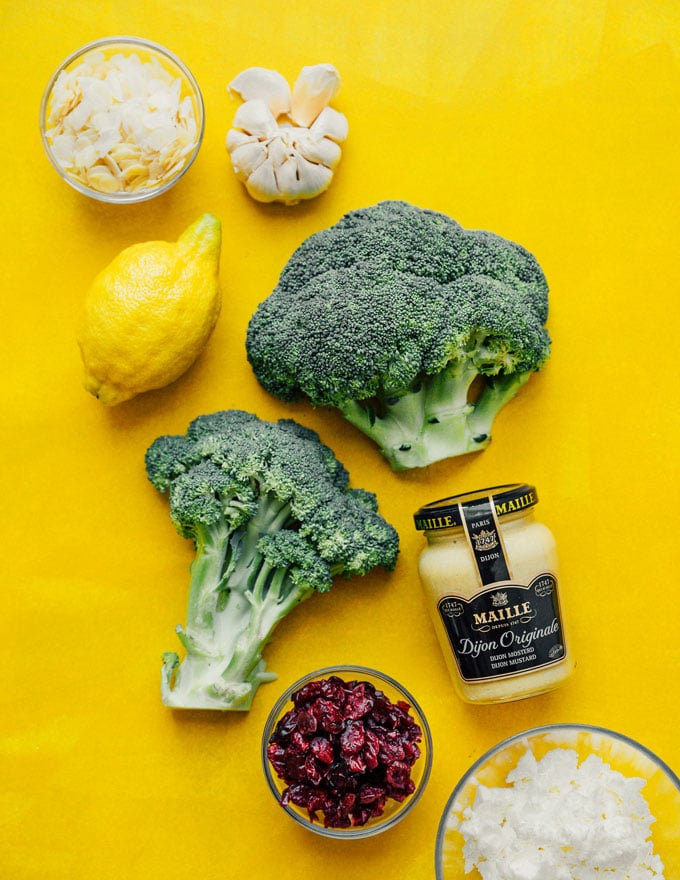 Ingredients to make grilled broccoli salad with honey mustard dressing