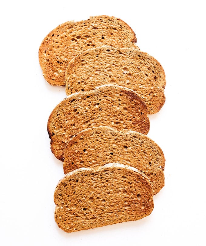 Toasted bread on a white background