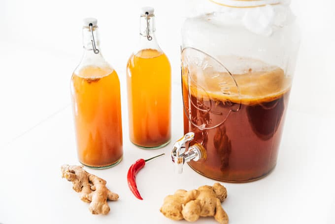 Ginger kombucha in fermentation bottles with SCOBY jar