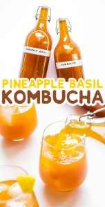 Pineapple kombucha in bottles on a white background