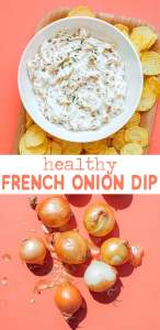 Healthy French onion dip in a bowl with potato chips
