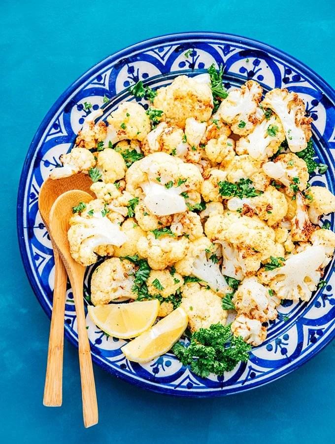 Dinner plate full of crispy air fried cauliflower florets