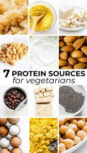 Collage of vegetarian high protein ingredients