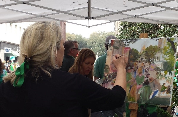 Ann Bailey live event portrait artist at Savannah St Patricks Day Parade