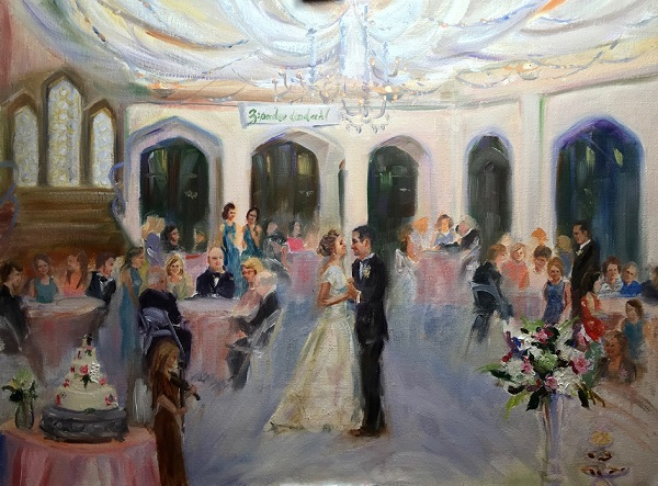 live event painting Ann Bailey of First Dance Bride and Groom Callenwold ballroom
