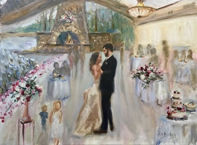 live wedding painting couple first dance winter wedding