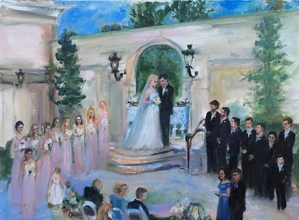 best painting canvas sizes for outdoor garden wedding ceremony painting