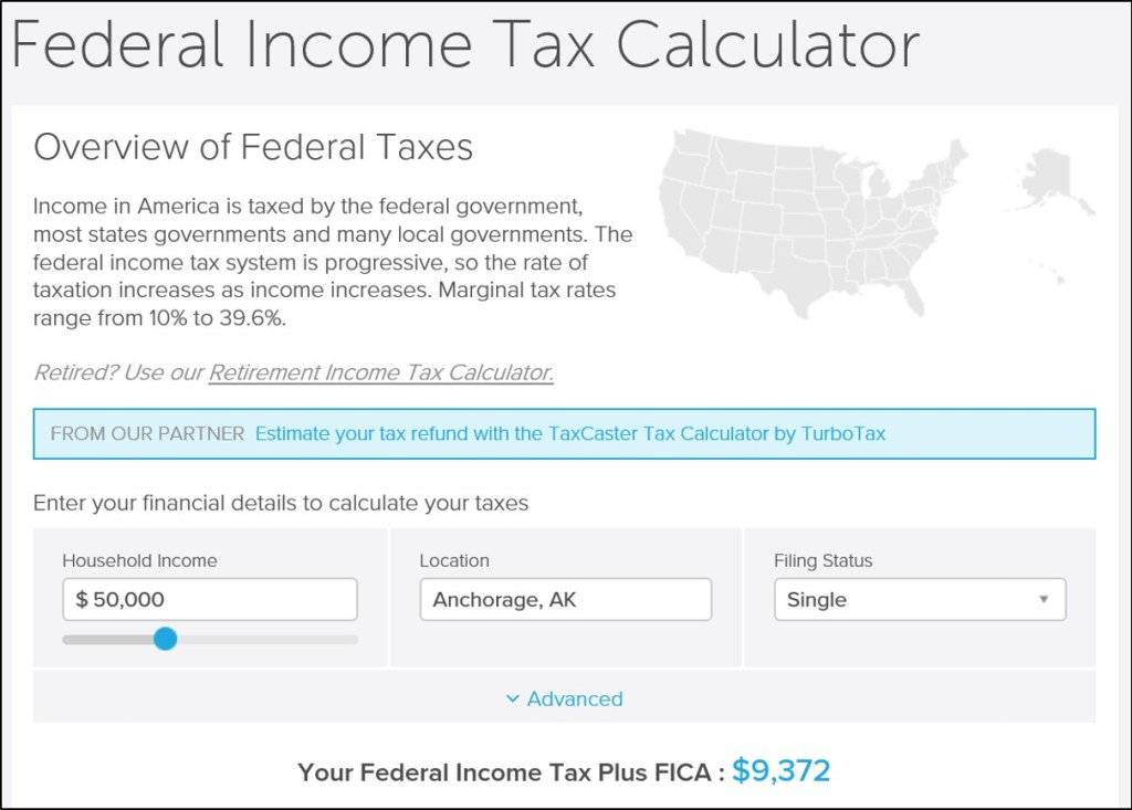 Total federal taxes on a $50,000 income