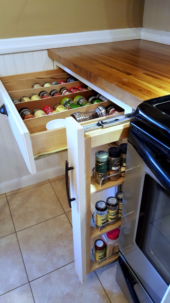 DIY Spice rack and pull out cabinet spice rack