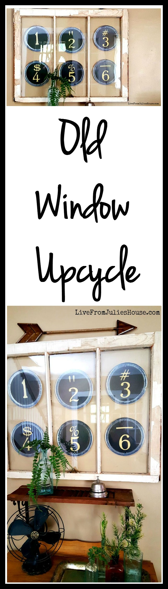 Old Window Upcycle + Budget Friendly Living Room Update - I was looking for something unique to put in my old window, so I picked up a couple items at Hobby Lobby, added a few things I had around the house and managed to update this little corner of my living room for just $19!
