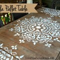 Mandala Stencil Pallet Table - I gave my plain-Jane pallet table a quick shot of boho style using my mandala stencil and a little exterior paint. It was fast, easy and I dig the results!
