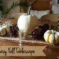 Fast & Easy Fall Tablescape -I created my fast and easy fall tablescape for about $10 using goodies from the thrift and grocery stores, plus a few things I had around the house.