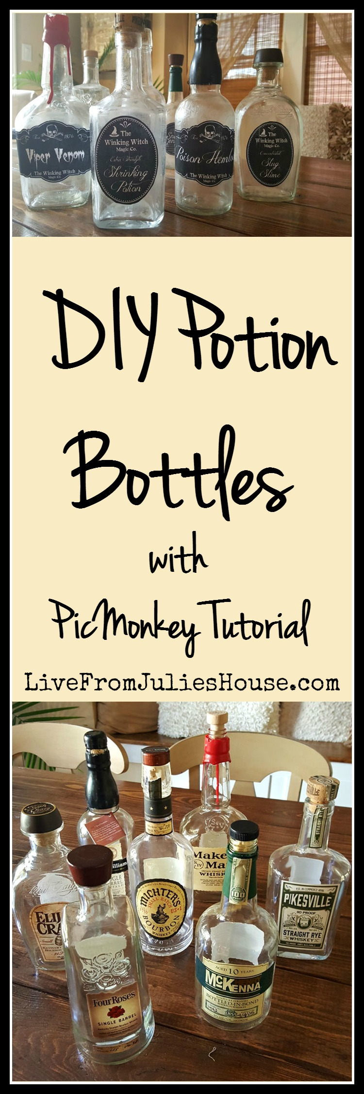 Halloween Decor on the Cheap: DIY Potion Bottles - Make spooky DIY Potion Bottles for Halloween out of bourbon bottles using my easy PicMonkey tutorial.