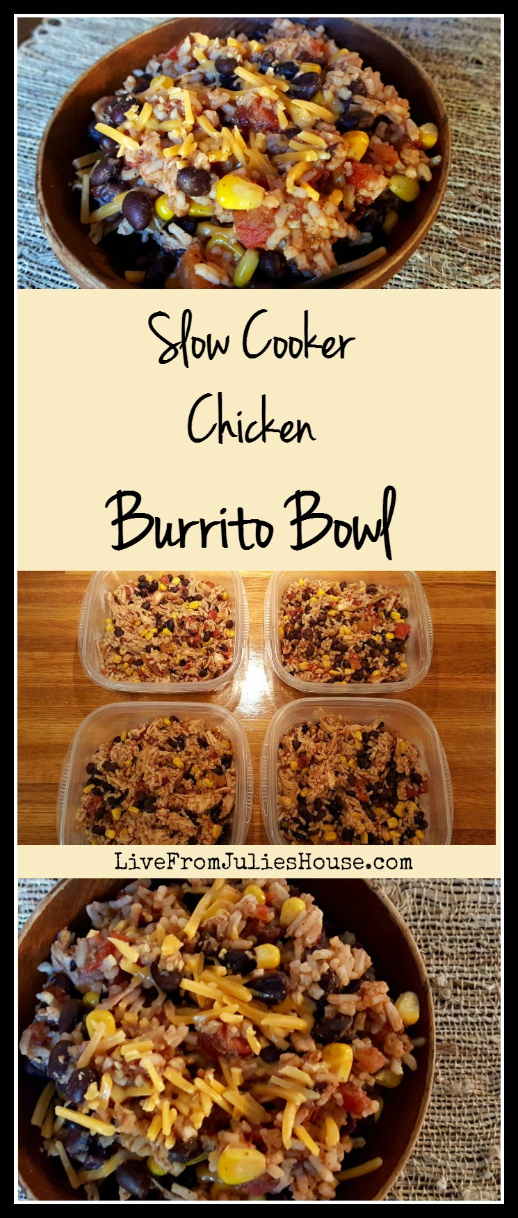 Slow Cooker Chicken Burrito Bowls - These delicious Slow Cooker Chicken Burrito Bowls are the perfect make-ahead lunch - simple and tasty, plus your slow cooker does all the work.