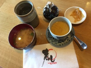 Sushi Taro - Miso soup, egg custard, and green tea