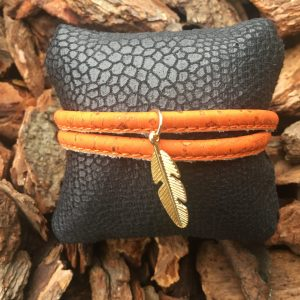 Armband in kurkleer Leaf