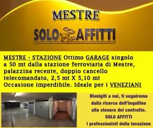 MESTRE-STAZIONE Ottimo garage singolo a 50 mt dalla stazione ferroviaria di Mestre, palazzina recente, doppio cancello telecomandato, 2,5 mt X 5,10 mt Occasione imperdibile