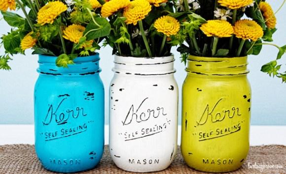 Turquoise Painted Mason Jar