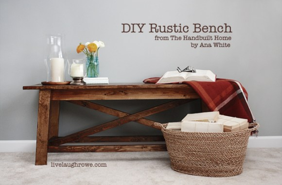 DIY Rustic Bench with livelaughrowe.com