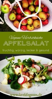 Pinterest-Pin: Lauwarmer Apfelsalat, leckere vegane Herbstküche
