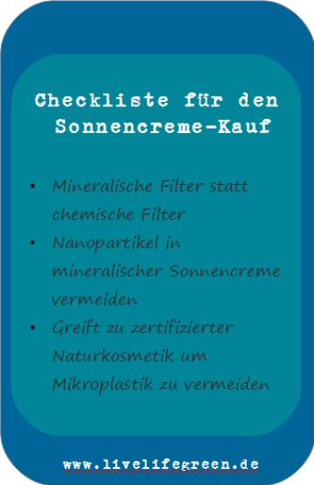 Checkliste für gesunde Sonnencreme
