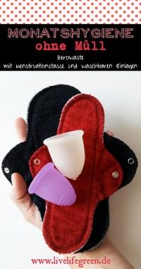 Pinterest-Pin: Monatshygiene ohne Müll mit Menstruationstasse und waschbaren Einlagen