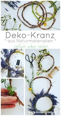 Pinterest-Pin: Deko-Kranz aus Naturmaterial selber binden