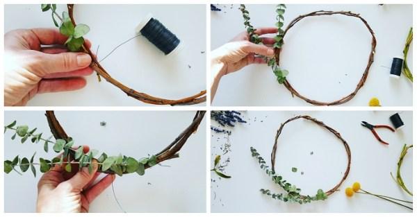 Deko-Kranz aus Naturmaterialien binden Eukalyptus-Kranz minimalistisch