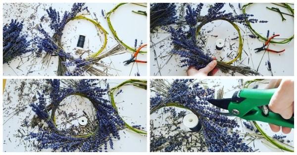 Deko-Kranz aus Naturmaterialien binden: Lavendel-Kranz voll und üppig