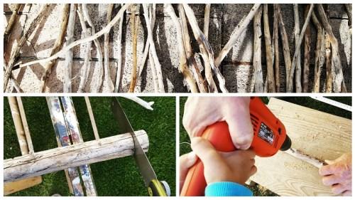 DIY-Weihnachtsbaum aus Holz und Ästen Treibholz vorbereiten sägen und bohren