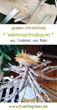 Pinterest-Pin: DIY-Weihnachtsbaum aus Holz und Ästen