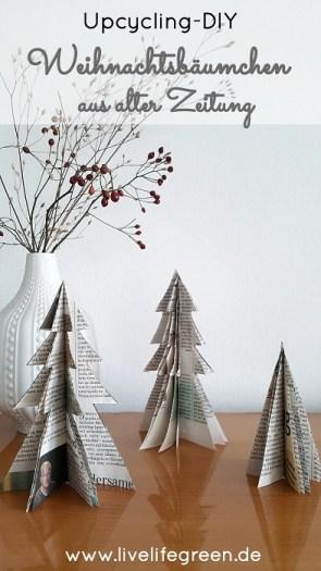 Upcycling-DIY: Deko-Weihnachtsbäumchen aus alter Zeitung