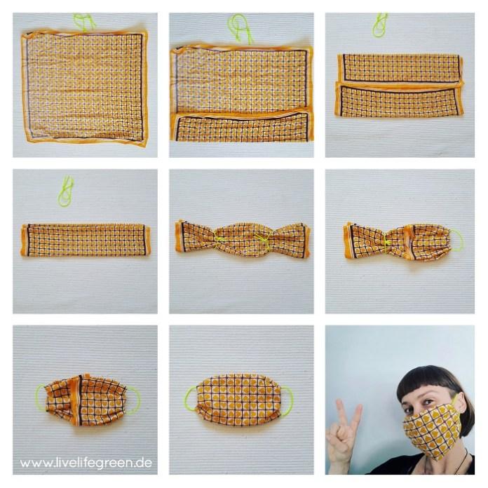 Schritt für Schritt Anleitung für einen DIY-Mundschutz zum Falten. Atemschutzmaske ohne Nähen.
