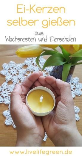 Pinterst-Pin: Ei-Kerzen aus Eierschalen und Wachsresten selber gießen