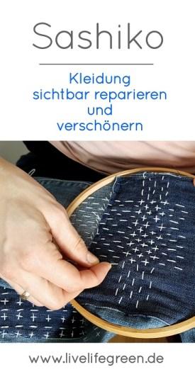 Pinterest-Pin: Mit Sashiko Kleidung sichtbar reparieren und verschönern