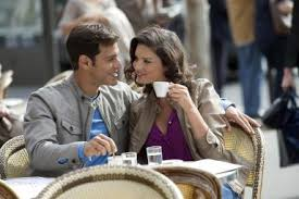French couple drinking coffee